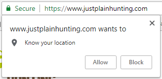 allow location popup - chrome